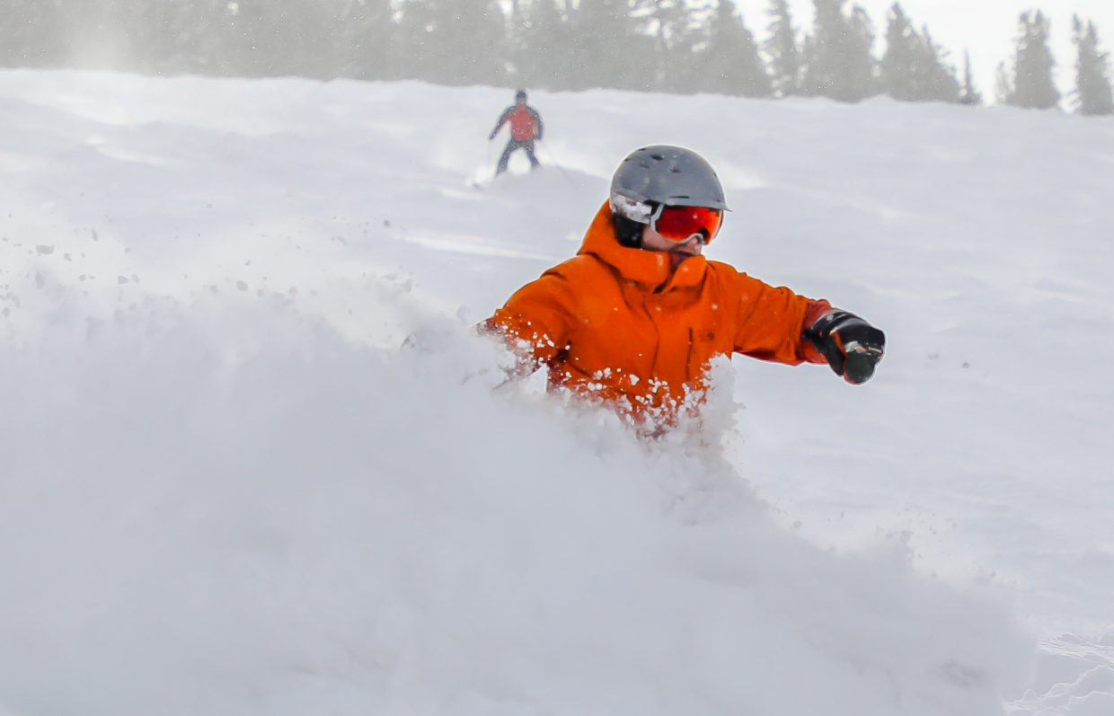 B.J. Hollis of Edwards gets fresh turns on Ripsaw run shortly after Ski Patrol dropped the ropes on Friday, Jan. 12, in Beaver Creek. New snow has brought new terrain openings on both Beaver Creek and Vail.