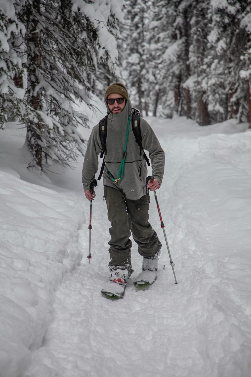 Marty Tarantino, of Avon, skins up Mayflower Gulch Trail on Tuesday, Dec. 26, on Fremont Pass. Ski resorts around Summit County reported around a foot and a half in 24 hours.