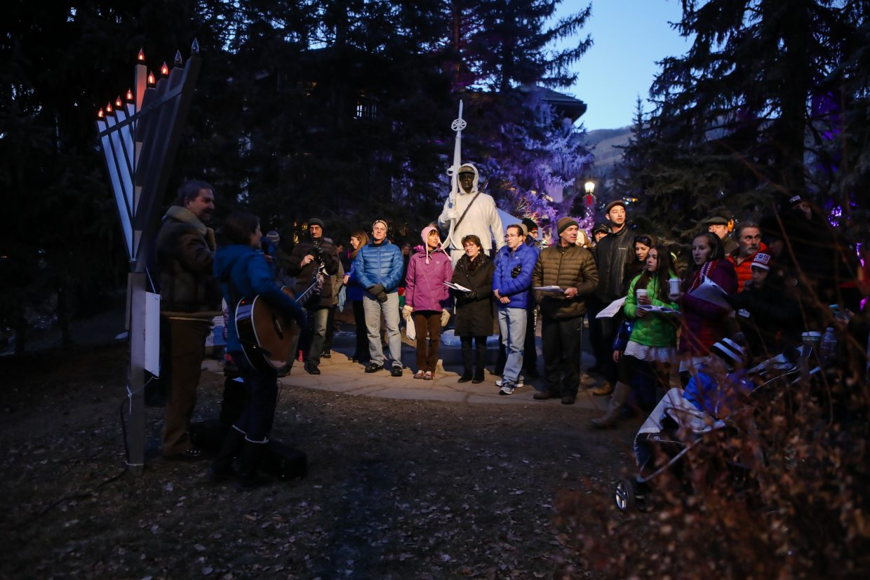 People gather for the lighting of the Menorah on the sixth night of Hanukkah on Sunday, Dec. 17, in Vail. Hanukkah ends Wednesday, Dec. 20.
