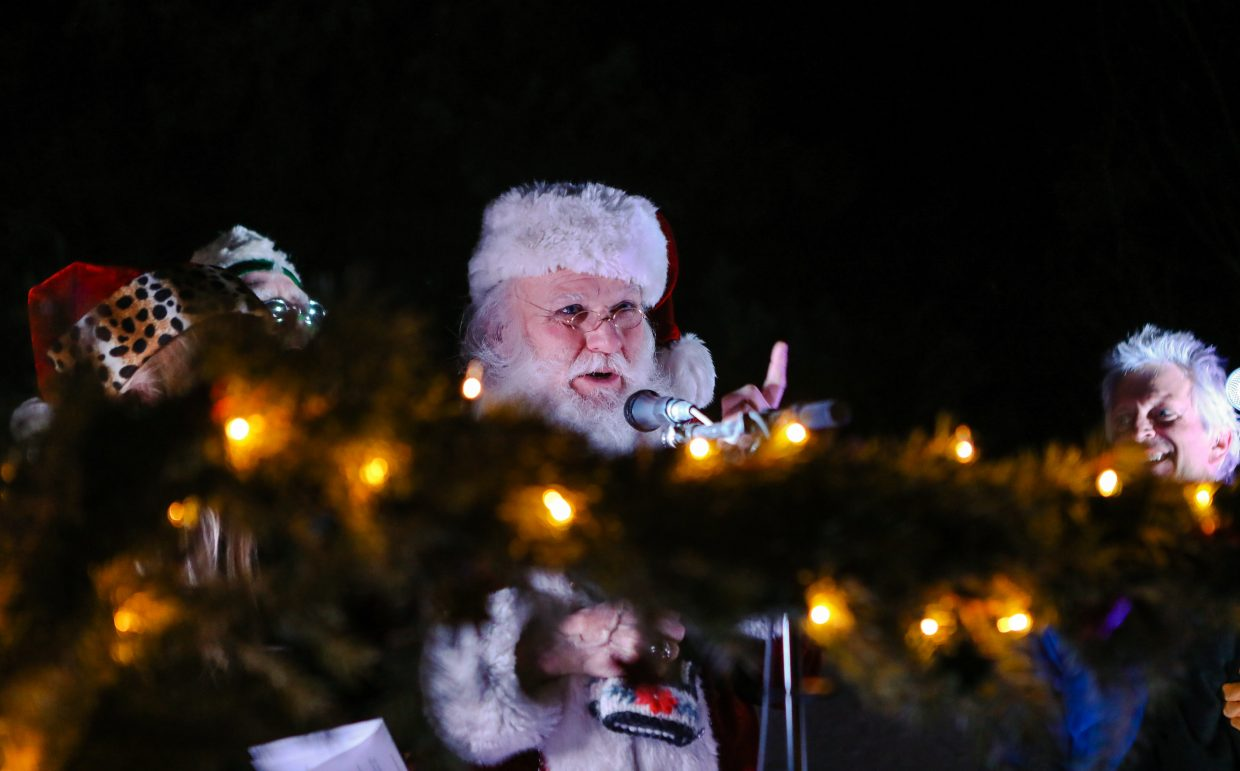 Kris Kringle speaks to the crowd during the annual Holiday Tree Lighting on Sunday, Dec. 17, in Vail. Holiday events continue through New Years in Vail.