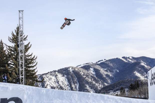 Mark McMorris gets big air on the second-to-last jump in the Men's Snowboard Slopestyle on Saturday, Jan. 27, in Apsen. McMorris took third.