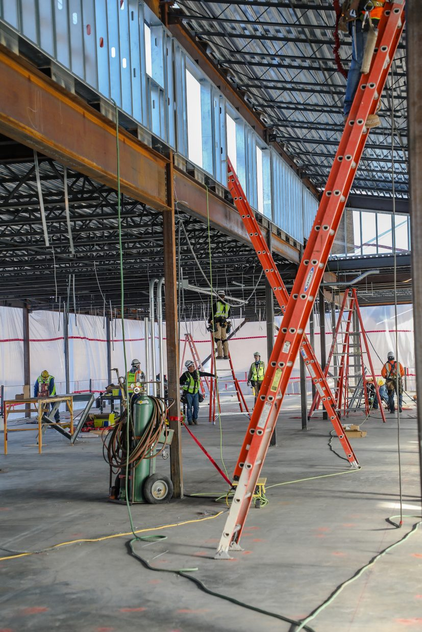 The second floor is worked on for the new science building of Eagle Valley High School on Wednesday, Jan. 24, in Gypsum. The addition of the academic building adds 26,000 square-feet.