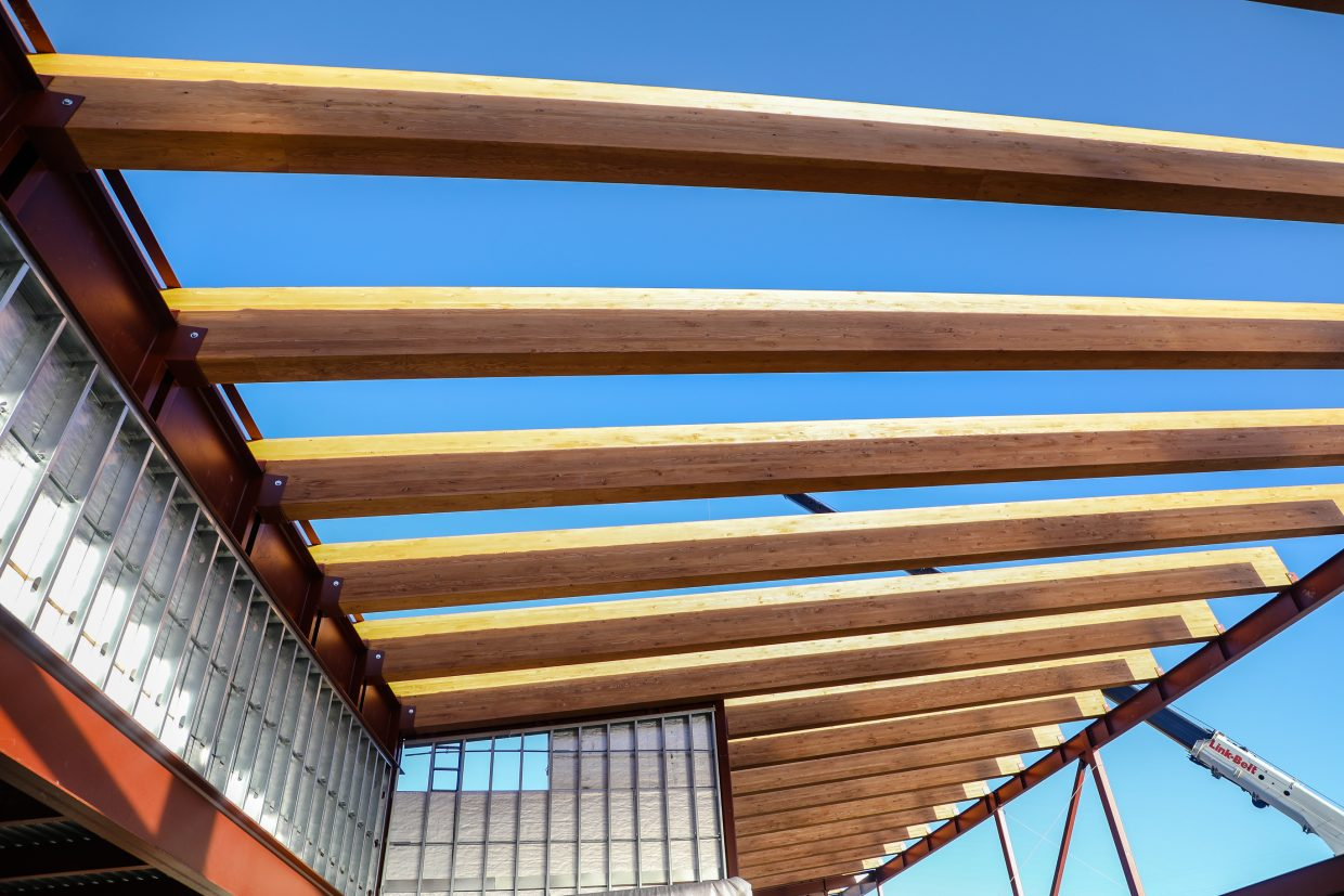 Wood beams make up accenture of the new Eagle Valley Elementary School while under construction on Wednesday, Jan. 24, in Eagle.