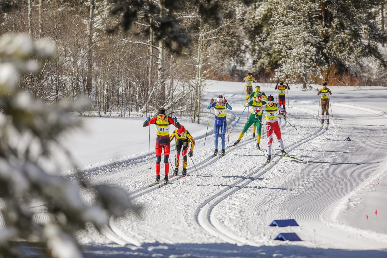 Nordic skiers make their way around the course during the NCAA West Regionals hosted by Ski and Snowboard Club Vail and University of Denver on Sunday, Feb. 11, in Minturn. The event also featured clubs, which was the final qualifier of the season for the Junior National Championships.