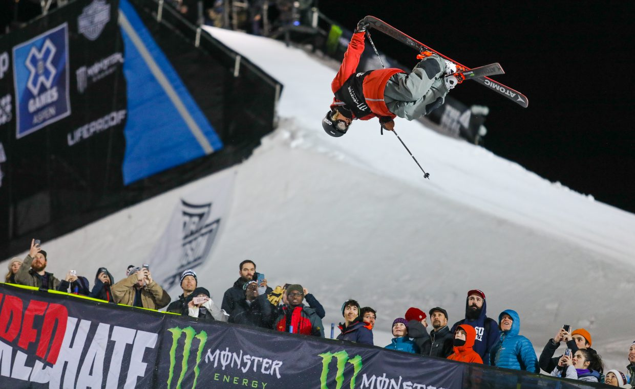 Taylor Seaton, of Avon, gets inverted during the Men's Superpipe Finals for the X-Games on Jan. 25, 2018, in Aspen. Seaton finished fifth in the annual event for his best-ever X Games result.