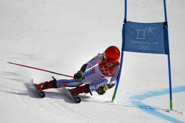 Mikaela Shiffrin, of Eagle-Vail, displays the impressive angles she got her skis into en route to claiming victory giant slalom. Shiffrin earned U.S. alpine skiing's only gold medal in spectacular fashion, attacking the course in her second run to solidify a strong lead.