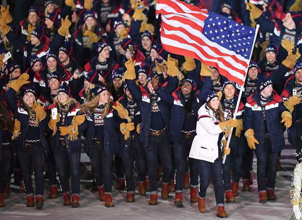 Erin Hamlin leads the United States athletes into the 2018 Winter Olympics Opening Ceremonies on Friday in Pyeongchang, South Korea.