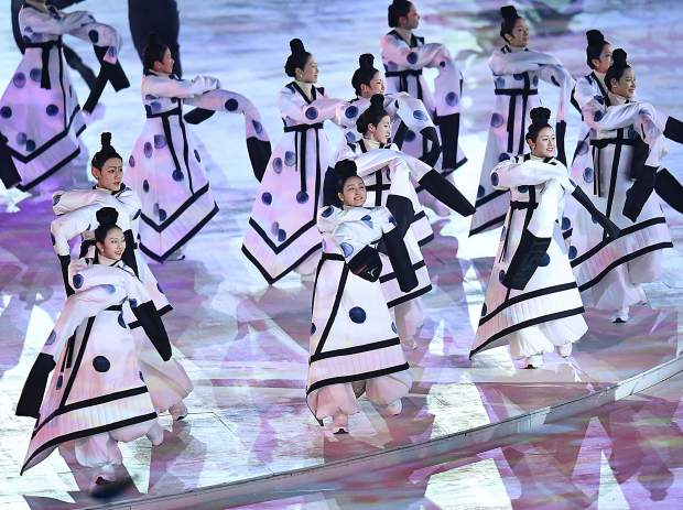 Dancers welcome in the 2018 Winter Olympics during the Opening Ceremonies in Pyeongchang, South Korea.