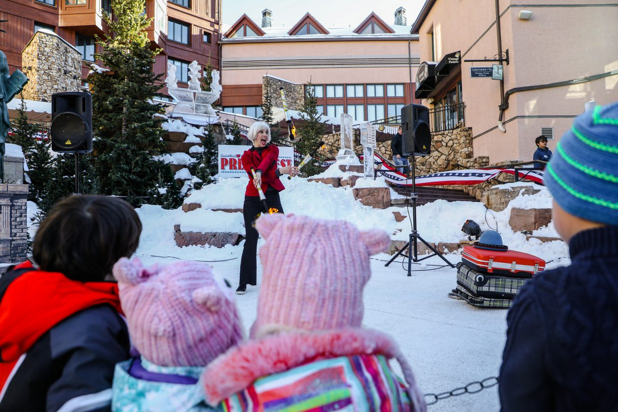 Ice sculptures make for a festive environment for Prez Fest on Saturday, Feb. 17, in Beaver Creek. Events begin daily at 3:30 p.m., and last through Monday.