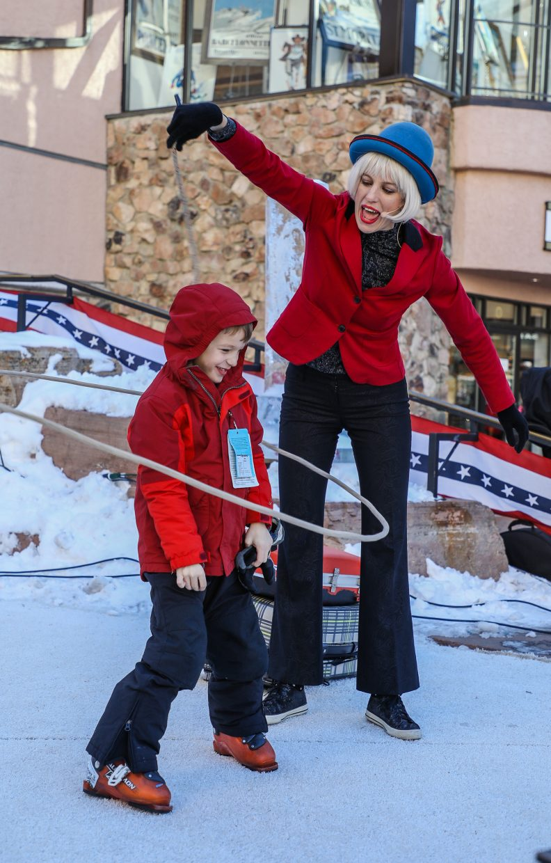 Beka Smith, also known as the One Woman Circus, performs a lasso trick on audience members during Prez Fest on Saturday, Feb. 17, in Beaver Creek. Audience participation is a big factor in Prez Fest.