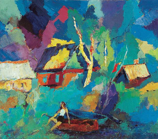 """On the Banks of the Volkov River,"" by Boris Chetkov, 24"" by 28"", acrylic on canvas."