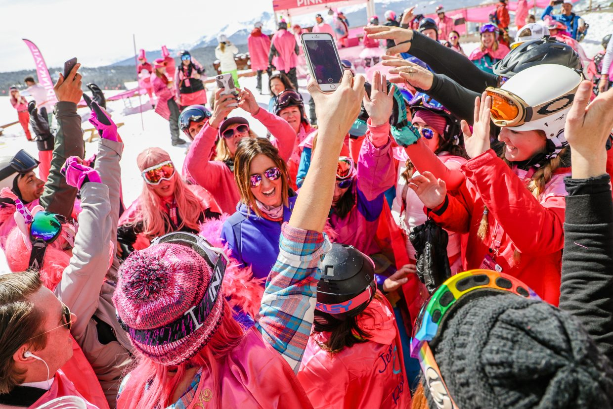 Team Jenna's Rocks rocks around Jennifer Seoane, who was diagnosed with Stage 3 Metastatic Ductal Carcinoma, during Pink Vail on Saturday, March 24, in Vail. Thousands gathered in pink to rally around the defeat of cancer.