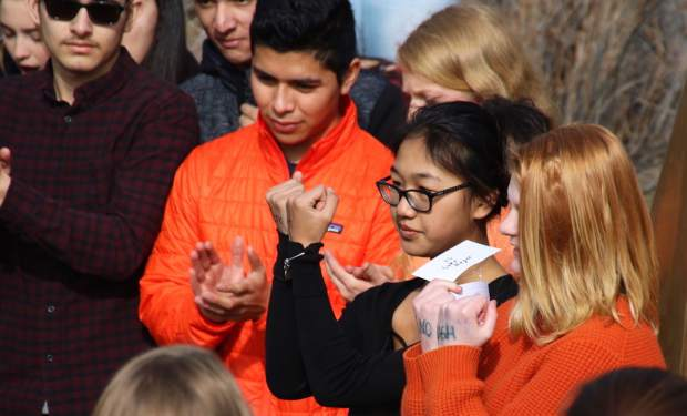 Hundreds at Battle Mountain High School participated in Wednesday's walkout event.