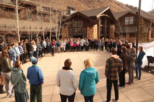 Vail Mountain School students, faculty and parents gathered outside the school and observed 17 minutes of silence in memory of the 17 victims of the Marjory Stoneman Douglas high school shooting in Florida.
