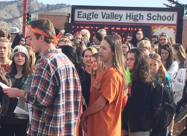 Eagle Valley High School's Riley Dudley read a lettter signed by hundreds of students, demanding action from elected officials.
