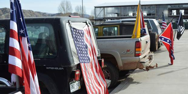 Flags and symbols of all sorts found a peaceful home during Wednesday's walkout.