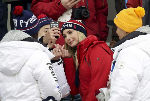 Ivanka Trump poses for a picture during the men's Big Air snowboard competition at the 2018 Winter Olympics in Pyeongchang, South Korea, Saturday, Feb. 24, 2018.