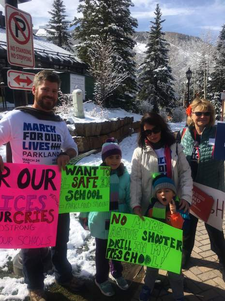 The Yaegel family from Parkland, Florida, were vacationing in Vail on March 24 and were glad to find the local March for Our Lives organized by Cathy Vaughan-Grabowski, Kathryn Foley and Sophia Bielsky.