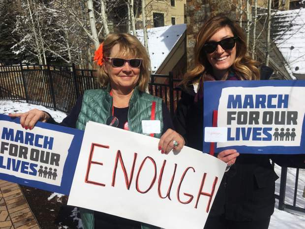 Vail March for Our Lives organizers Cathy Vaughan-Grabowski and Kathryn Foley were thrilled with the turnout of nearly 300 marchers from all over the Vail Valley, as well as families from Parkland, Florida.