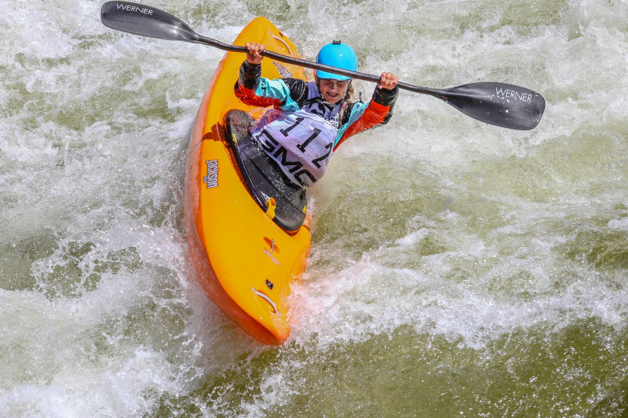 Sage Donnelly of Nevada turns hard in Dowd Chute during Oh Chute Kayak Challenge kicking off the GoPro Mountain Games on Thursday, June 7, near Vail. Donnelly took second.