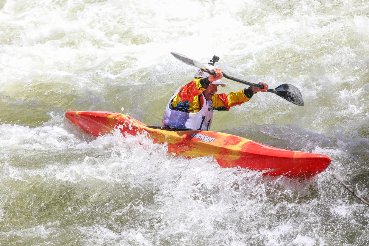 Eric Jackson competes in the Oh Chute Kayak Challenge during the GoPro Mountain Games on Thursday, June 7, in Vail. He was the only Grandpa to compete in the event, placing eighth.
