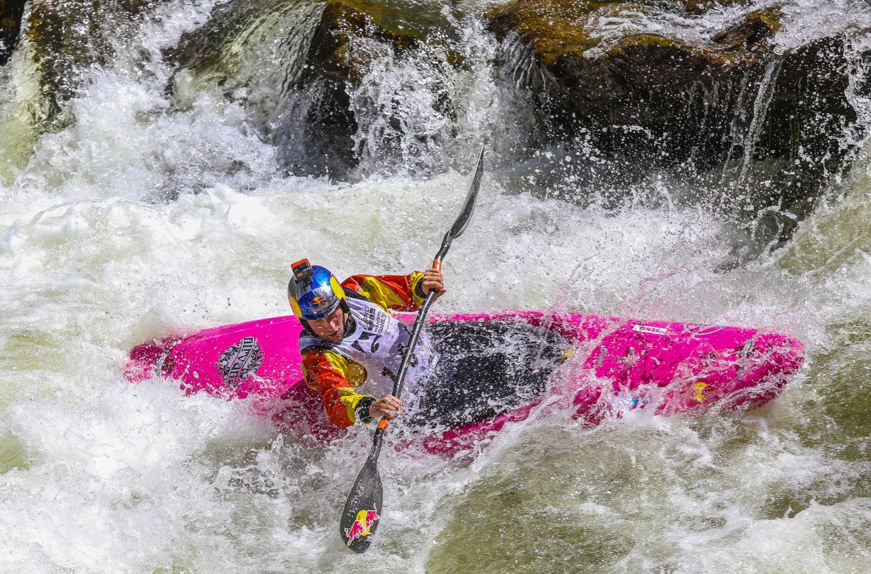 Dane Jackson makes his turn in the Oh Chute Kayak Challenge kicking off the GoPro Mountain Games on Thursday, June 7, outside Vail. Jackson took sixth.