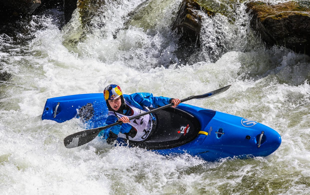Nouria Newman of France plows through Dowd Chute as part of the