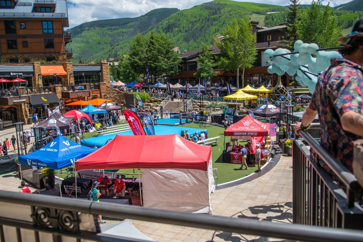 Solaris Plaza is always host to the Slackline Industries competitions and spectator events and challenges.