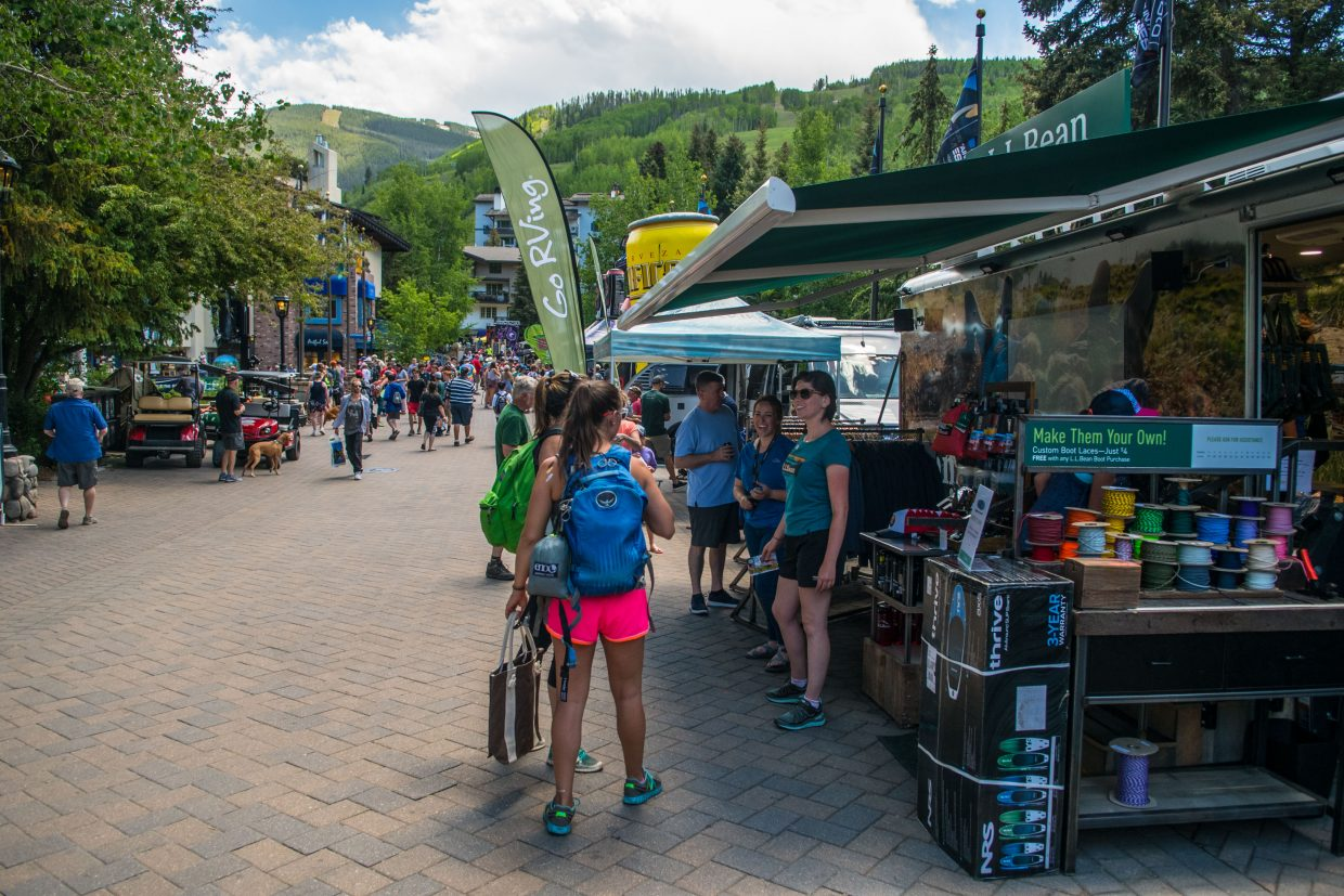 Gear Town, located between International Bridge and the Covered Bridge in Vail, is home to many sponsor tents handing out free merchandise and food.