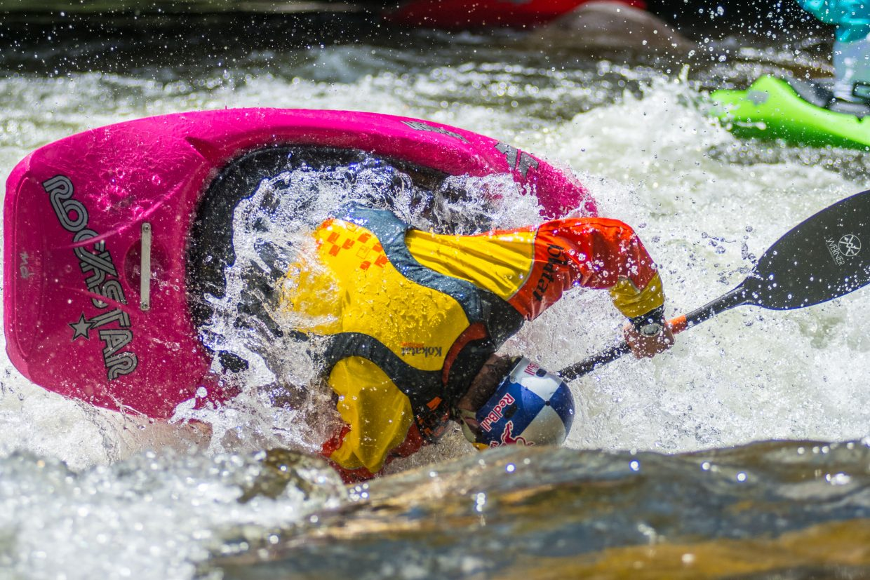 Dane Jackson practices on Gore Creek for the Kayaking Freestyle events during the Gopro Mountain Games on Thursday.