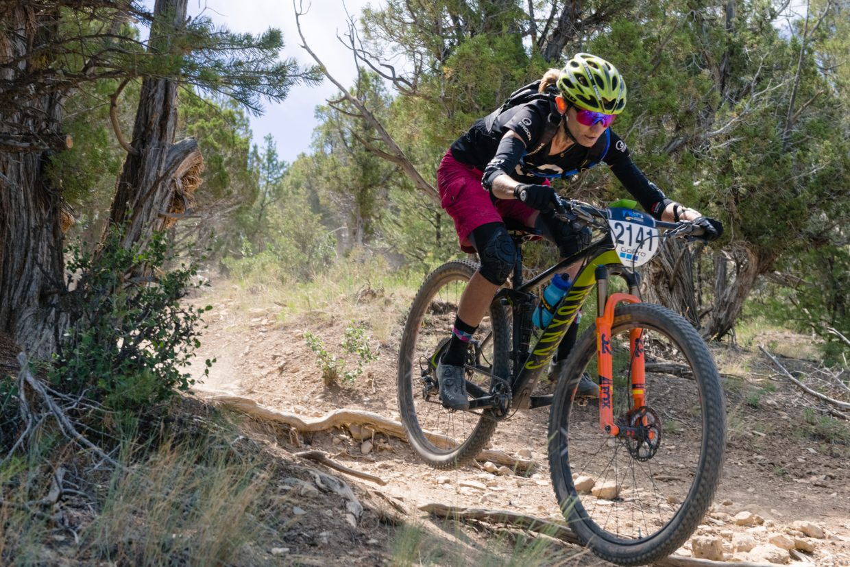 Local Karen Jarchow, of Eagle, races in the GoPro Mountain Games Enduro on Friday, June 8, in Eagle. Jarchow placed 4th in the womans pro.