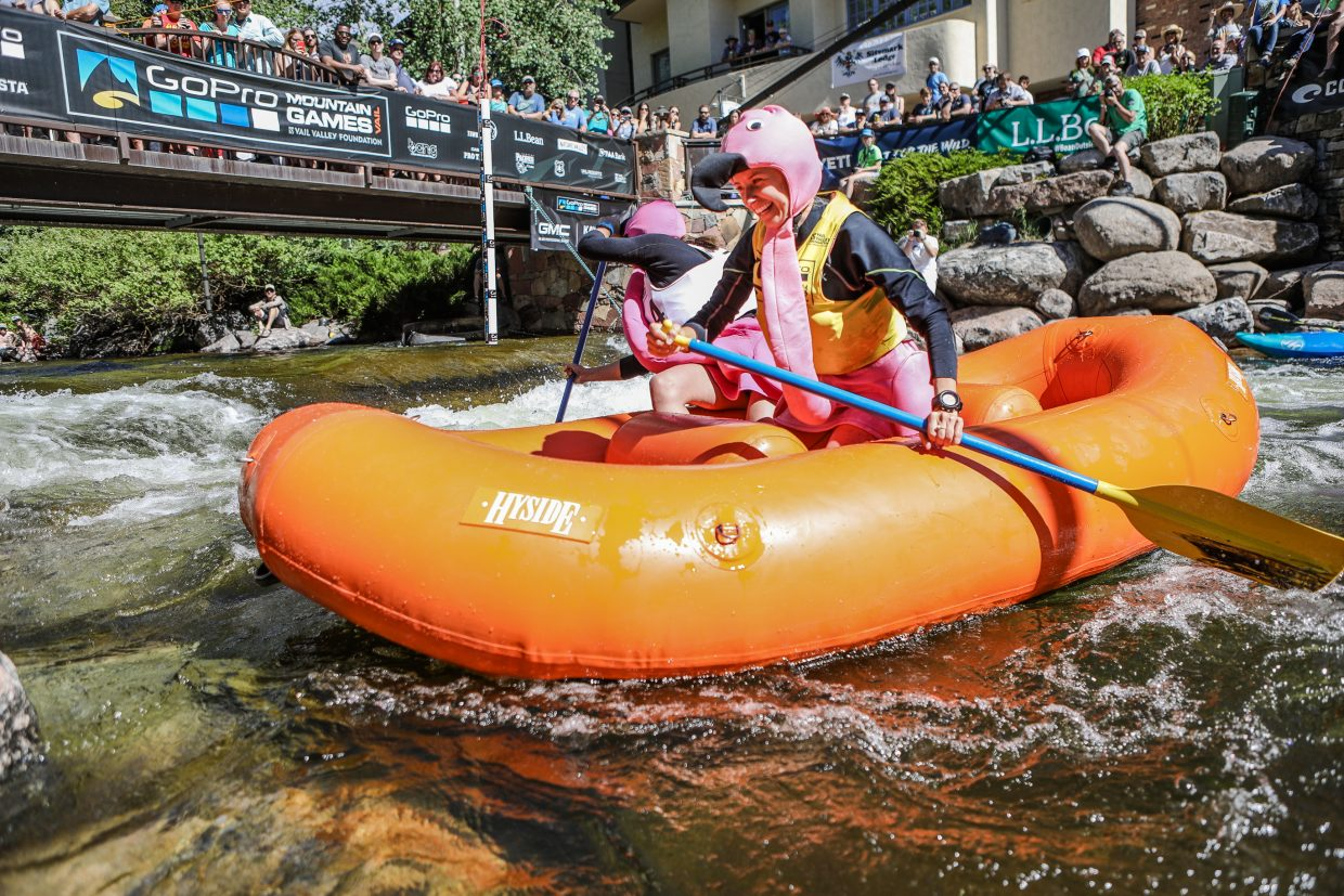 Rafters make their way around the final gate during the Raft Cross during the GoPro Mountain Games on Friday, June 8, in Vail. Costumes weren't required, nor did they help, but sure added to crowd-pleasing.