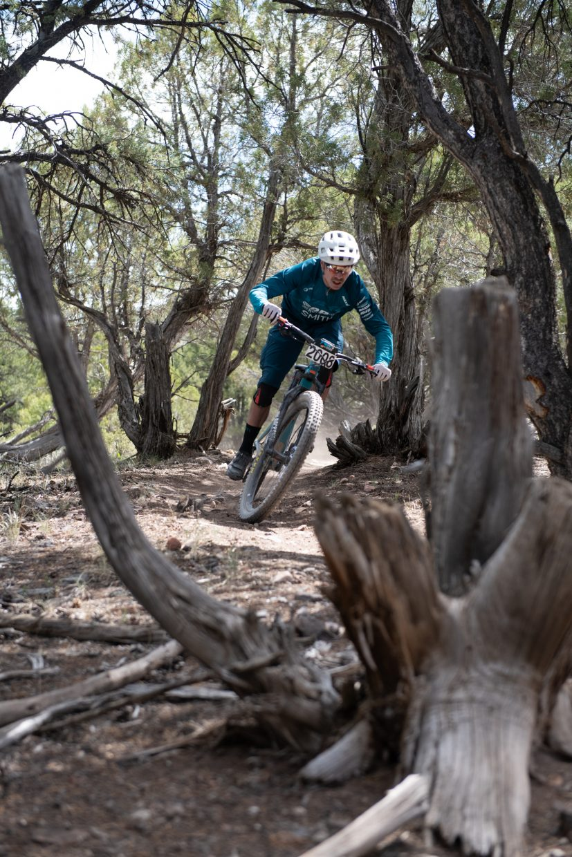 Nate Hills charges through a flat section of the Enduro mountain bike race in Eagle on Friday. Hills clenched third place in the Men's pro division.