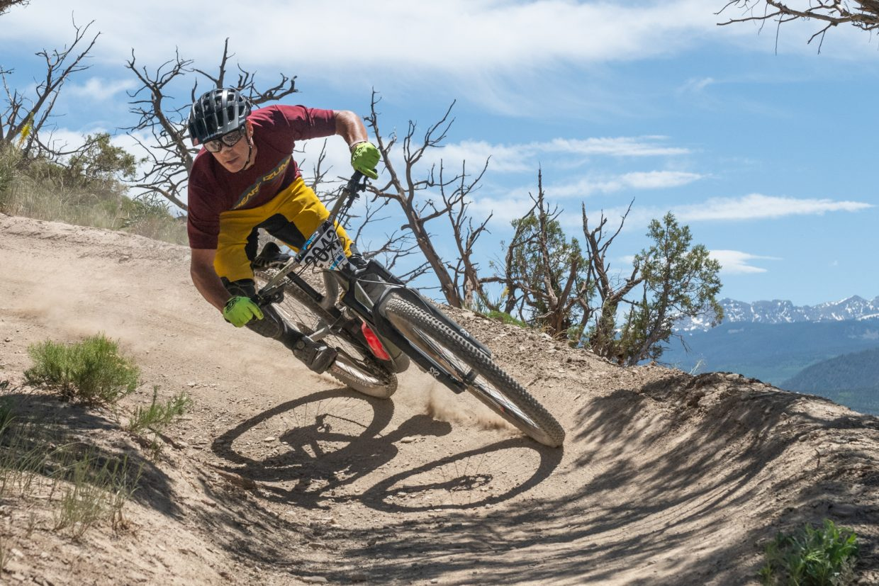 Brian Lopes, of California, flys into the home stretch of the 2018 GoPro Mountain Games Enduro Bike Race. Lopes placed second in the Mens Pro division.