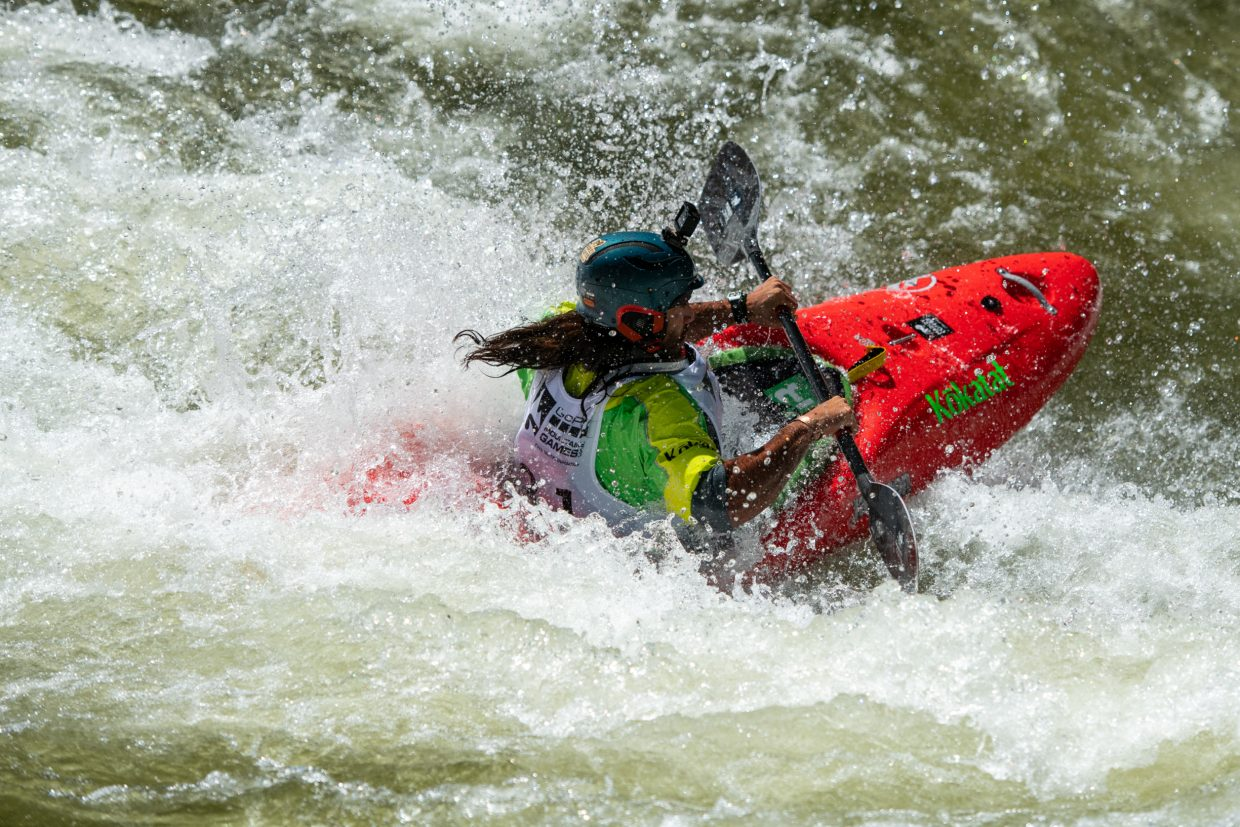 Pedro Astorga, of Santiago Chile,  ferrys across Dowd Chute in search of the next gate during the Oh Chute Kayak Challenge on Thursday.