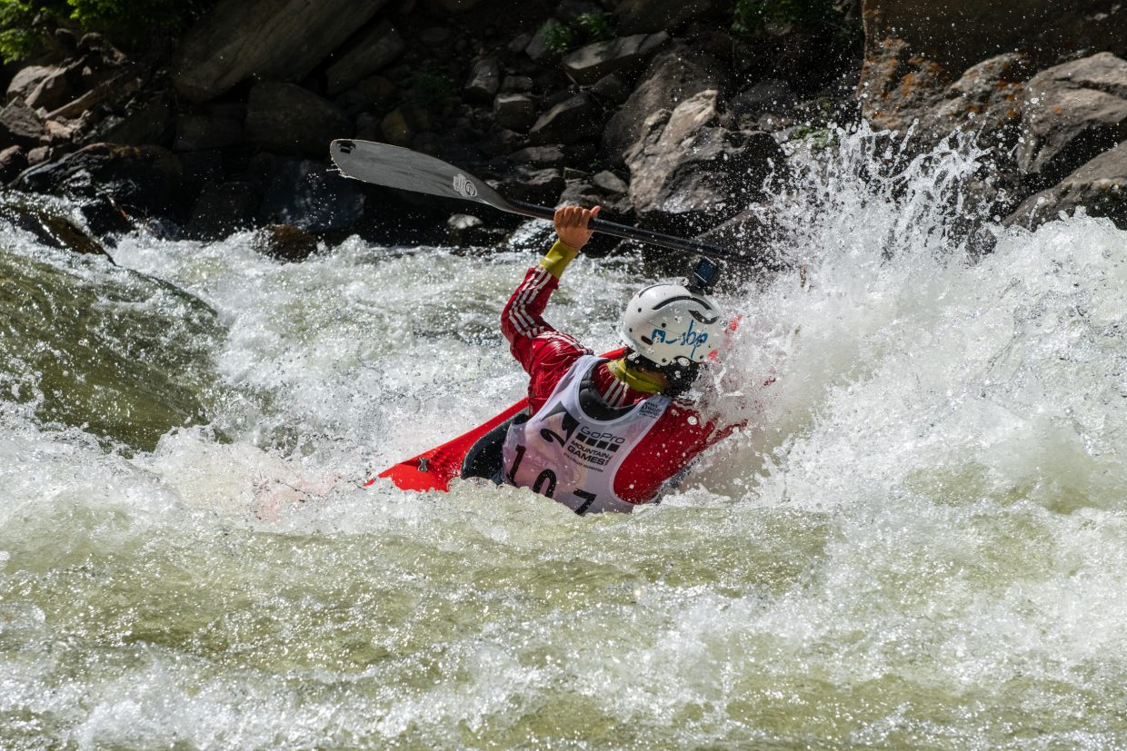 Gerd Serrasolses, of Sort ESP, blasts through a wave in search of the next gate in his quest for victory during the Go Pro mountain games