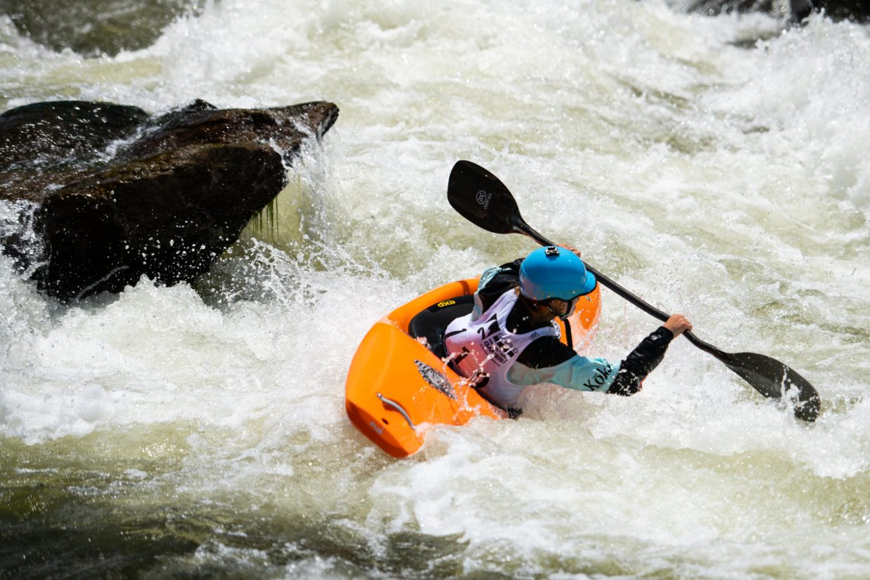 Sage Donnelly Peels out of an eddy and focuses on her next target during the Go Pro Mountain Games