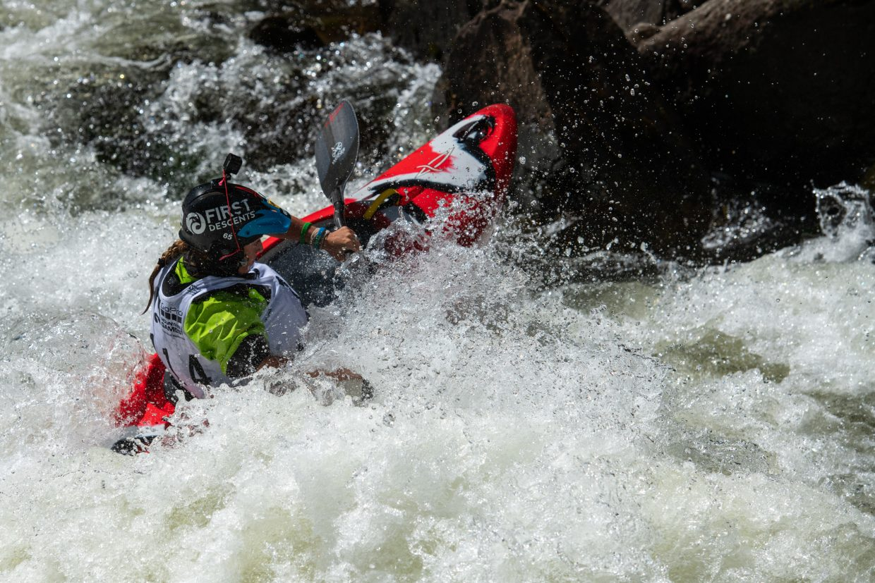 Adriene Levknecht charges downstream during the GoPro Mountain Games