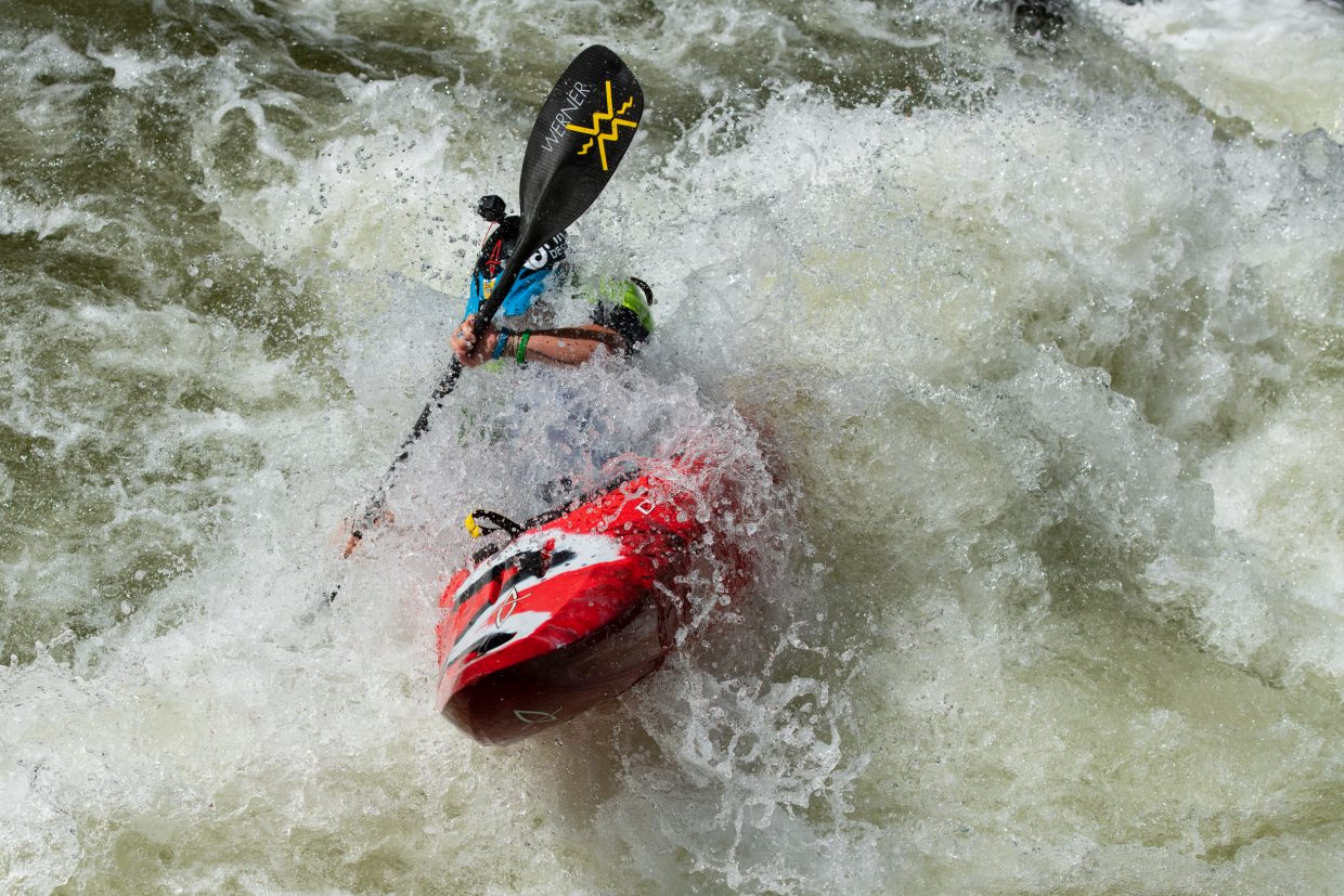 Adriene Levknecht blasts through a wave at the bottom of Dowd Chute during the GoPro Mountain Games