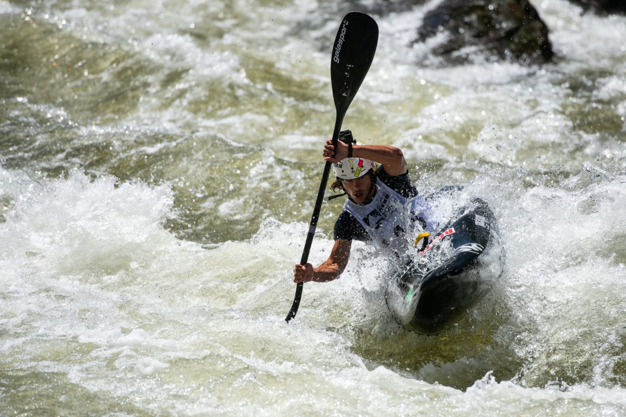 Matias Lopez, of San Rafael Argentina, charges down the Dowd Chute section of the Eagle river during the 2018 GoPro Mountain Games in Vail on Thursday. Lopez placed second overall for the men.