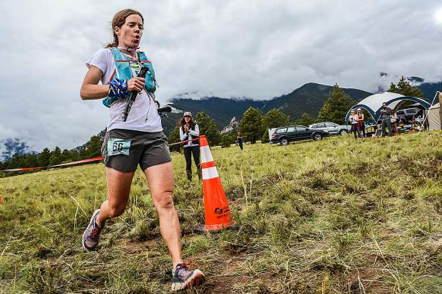 Longtime Summit County local Hannah Taylor died due to an accident while mountain running in the Gore Range on Saturday. The Summit Nordic Ski Coach and Summit Huts Association managing director is pictured here completing the final few steps of her first-place performance at the first-annual High Lonesome 100 Miler ultra-endurance race in Salida on July 28, 2017. Taylor finished in 29 hours and 59 minutes — nearly two hours ahead of the next-fastest woman on the course.