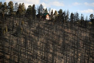 photo - homeowners return to house after spring creek fire
