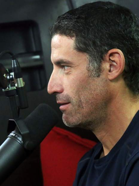George Hincapie talks to Lance Armstrong during his Tour de France podcast