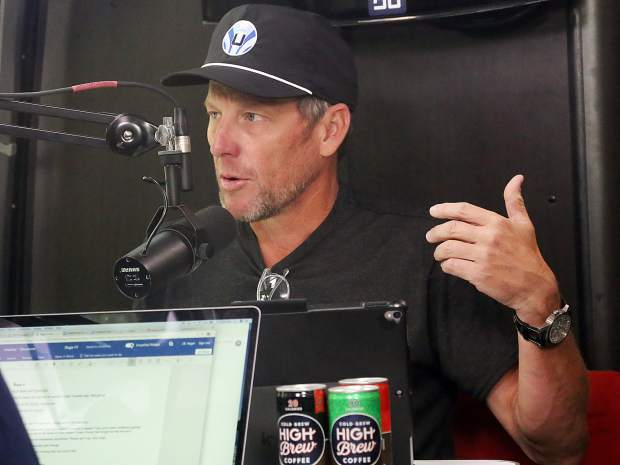 Lance Armstrong talks to JB Hager during his Tour de France podcast