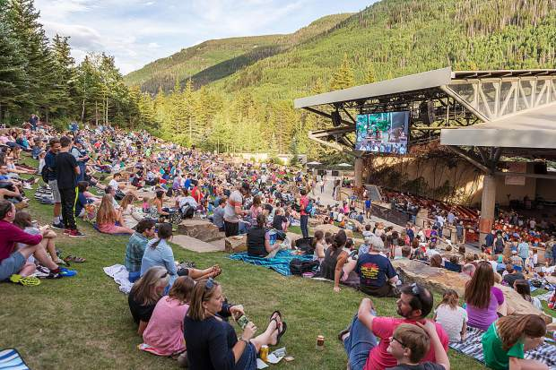 A large crowd showed up to watch The Main Squeeze during the Hot Summer Nights concert series Tuesday in Vail.