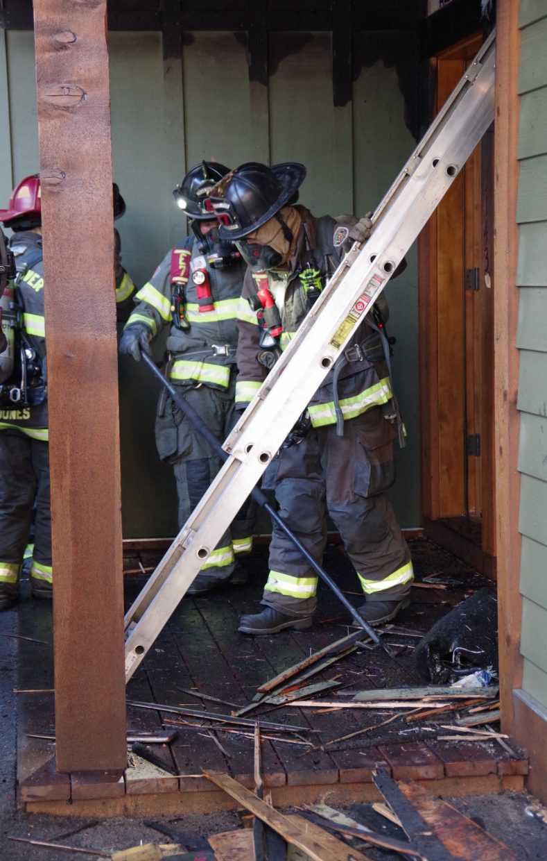 A fire that appeared to have originated in the corner of the porch of this home on Main Street in Minturn was quickly extinguished Tuesday morning, July 3.
