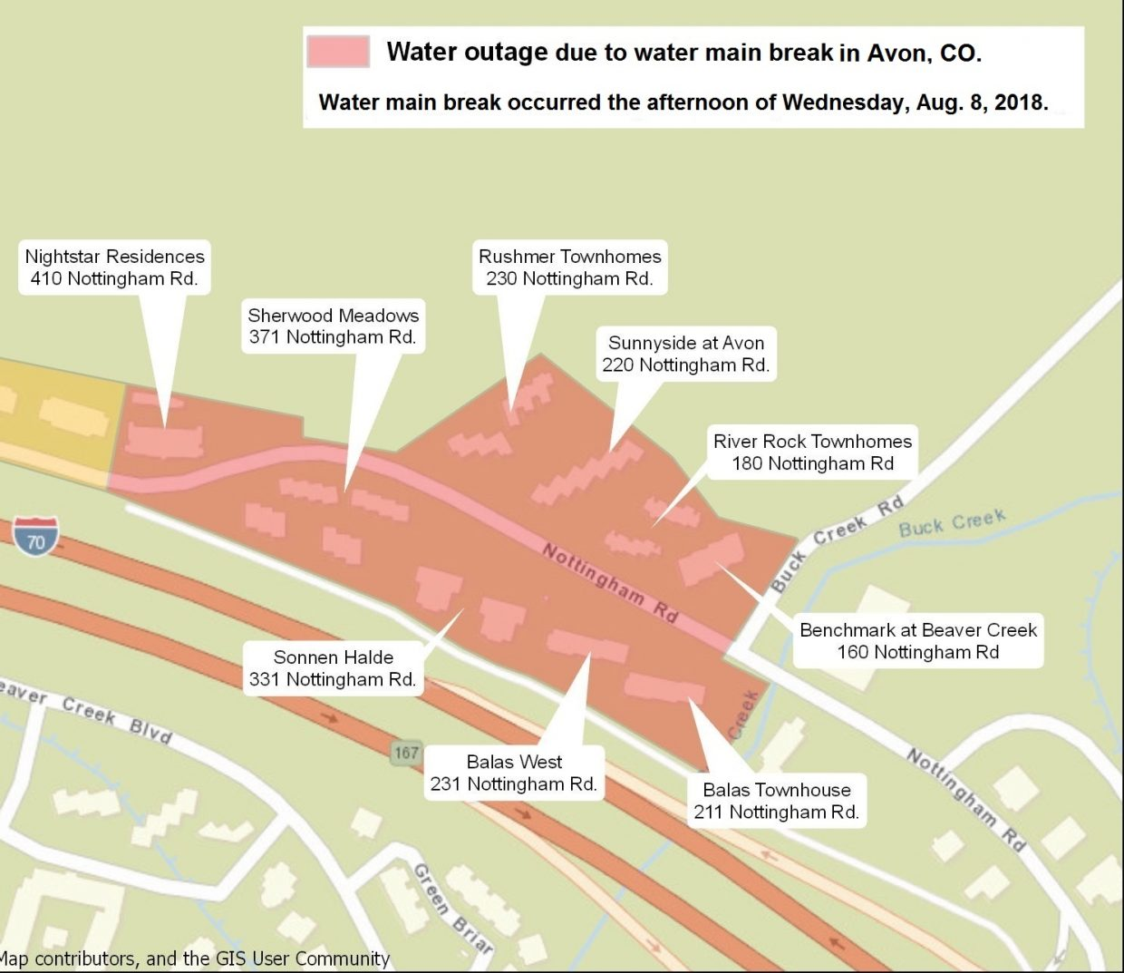 water outage, Avon, Nottingham Road
