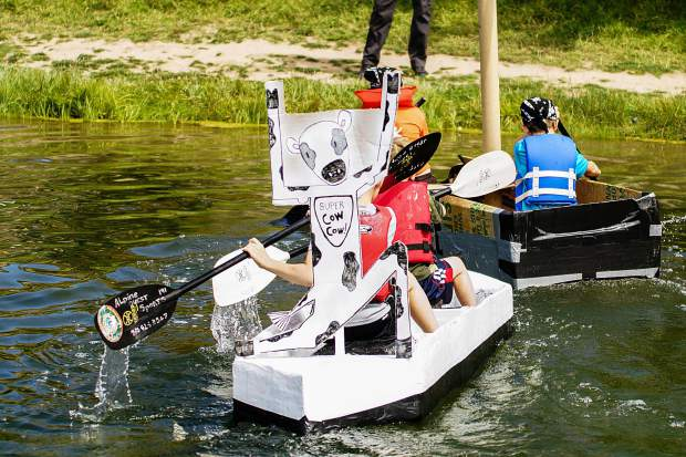 The SS Cow Cow boat won best kid's design at the Cardboard Boat Regatta. Photo by- Rachael Zimmerman