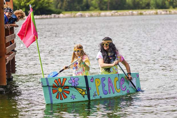Abby Dawson and Bernie Doft's boat, Do-Da Day, won both the fastest time and best design at the Cardboard Boat Regatta at Nottingham Park in Avon on Saturday morning. Photo by- Rachael Zimmerman