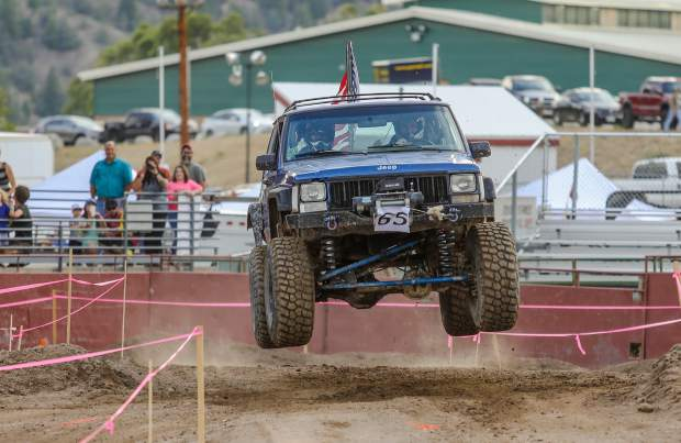 Jerrod Barton gets air during Crawling for the Cure on Saturday, Aug. 18, in Eagle. Barton was competing in the stock class.